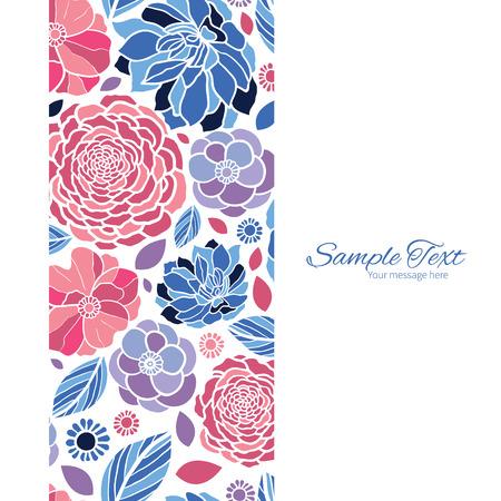 Fleurs vecteur de mosaïque cadre vertical seamless fond