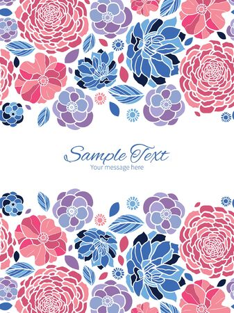 Vector mosaic flowers vertical double borders frame invitation template Vector