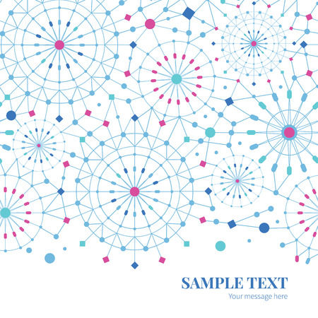 Vector blue abstract line art circles horizontal border card template
