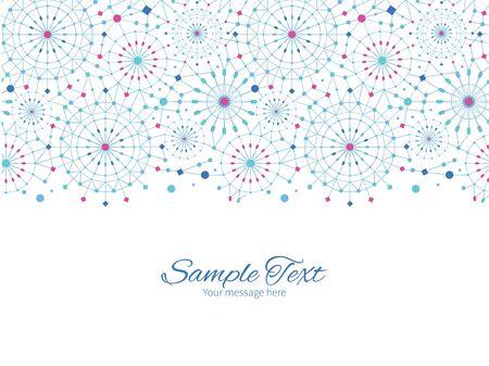 greeting: Vector blue abstract line art circles horizontal border greeting card invitation template