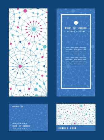 rsvp: Vector blue abstract line art circles vertical frame pattern invitation greeting, RSVP and thank you cards set