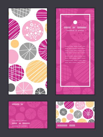 rsvp: Vector abstract textured bubbles vertical frame pattern invitation greeting, RSVP and thank you cards set Illustration
