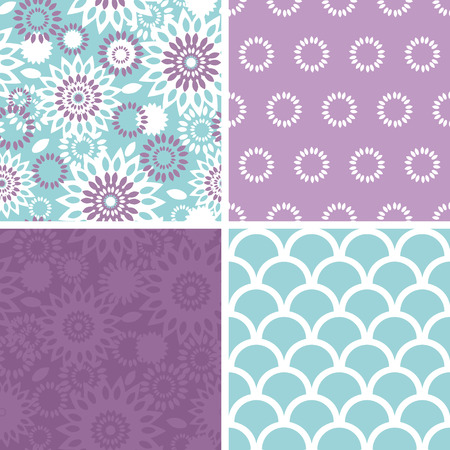 matching: Vector purple and blue floral abstract set of four matching repeat patterns backgrounds