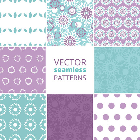 Vector purple and blue floral abstract set of eight matching repeating seamless patterns backgrounds