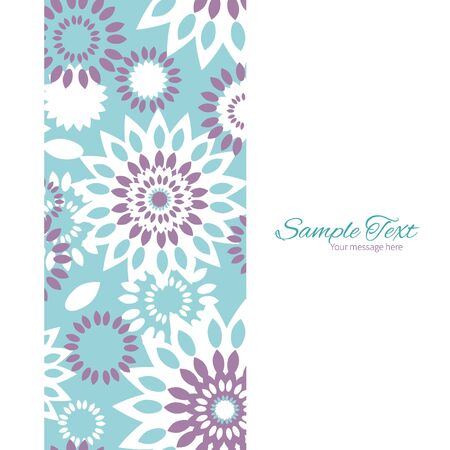 textile image: Vector purple and blue floral abstract vertical frame seamless pattern background