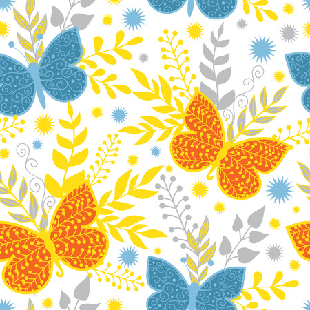 Vector vibrant blue and orange butterflies seamless pattern background Vector