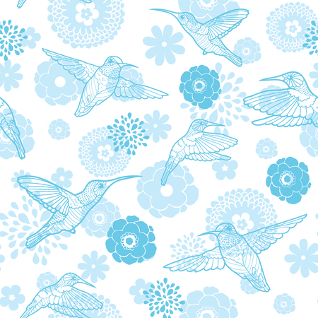 lineart: Vector blue hummingbirds and flowers lineart seamless pattern background