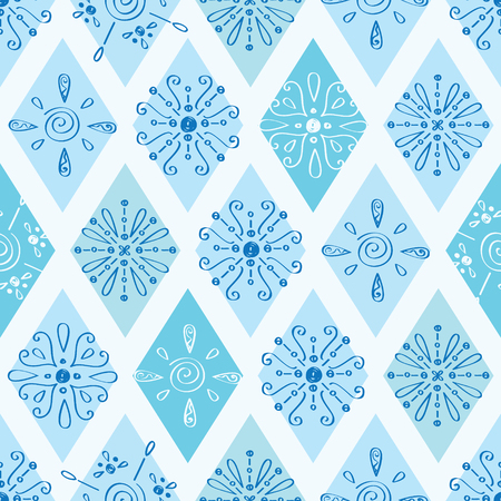 Vector abstract blue doodle rhombus seamless pattern background Vector
