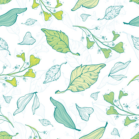 lineart: Vector lineart spring leaves seamless pattern background Illustration