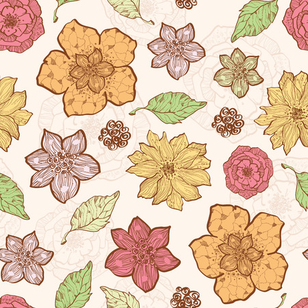 Vector warm fall lineart flowers seamless pattern background  イラスト・ベクター素材