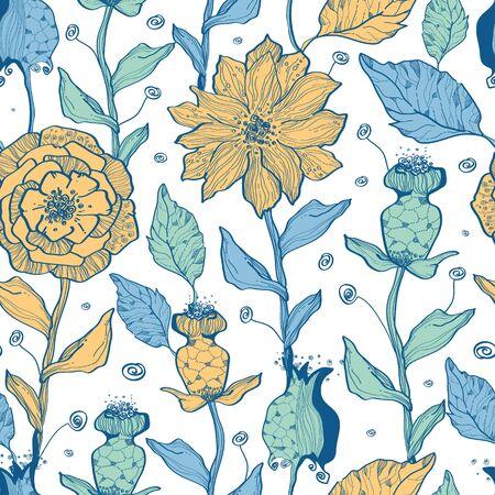 Vector whimsical flower garden seamless pattern background Vector