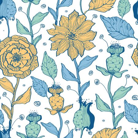 Vector whimsical flower garden seamless pattern background Vector