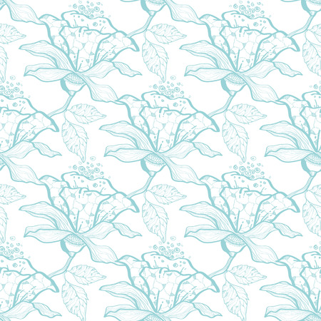 light blue: Vector light blue lace florals seamless pattern background