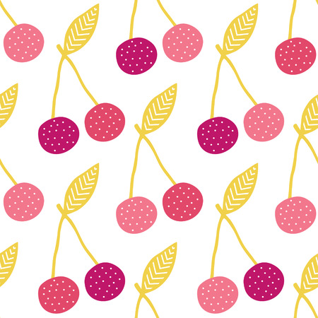 yummy: Vector yummy cherries seamless pattern background