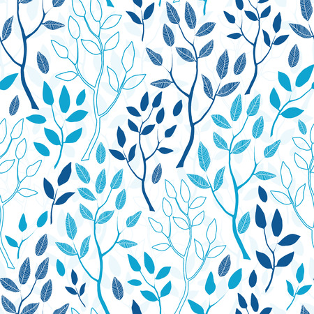 Vector blue forest seamless pattern background