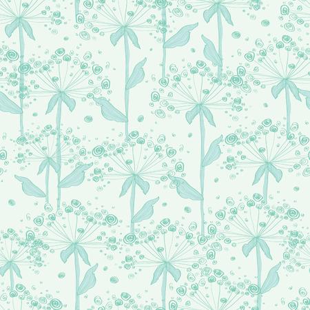 vector zomer lijntekeningen paardebloemen naadloze patroon achtergrond