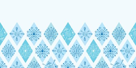 horizontal: Vector abstract blue doodle rhombus horizontal border seamless pattern background