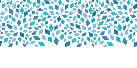horizontal: Vector blue mosaic texture horizontal border seamless pattern background