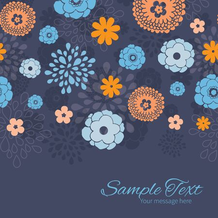 flowers horizontal: Vector golden and blue night flowers horizontal border card template