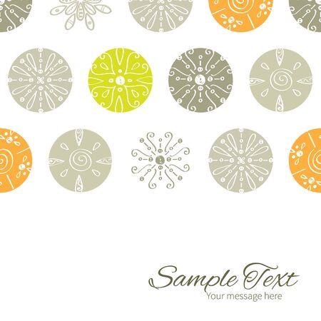 decor: Vector abstract gray and green polka dot backgr horizontal border card template Illustration