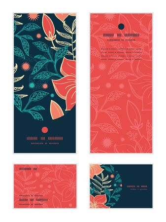 rsvp: Vector vibrant tropical hibiscus flowers vertical frame pattern invitation greeting, RSVP and thank you cards set