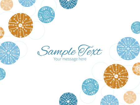 Vector abstract blue brown vintage circles back horizontal double corners frame invitation template graphic design Vector