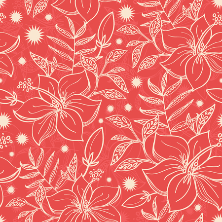Vector red and beige tropical floral seamless pattern background graphic design Vector