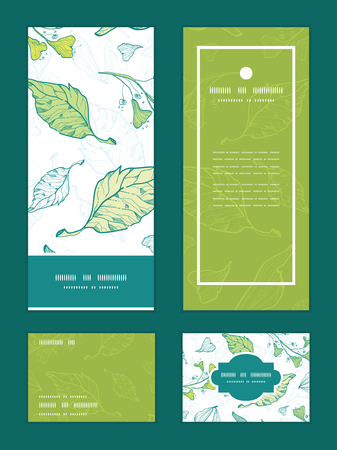rsvp: Vector lineart spring leaves vertical frame pattern invitation greeting, RSVP and thank you cards set
