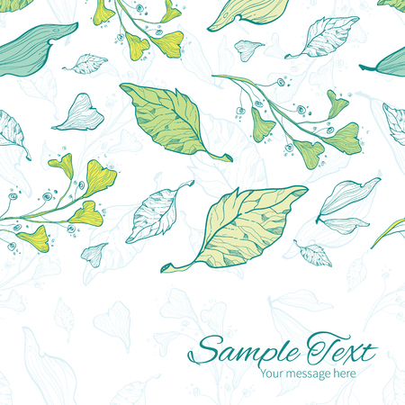 Vector lineart spring leaves horizontal border card template Illustration