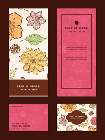 Vector warm fall lineart flowers vertical frame pattern invitation greeting, RSVP and thank you cards set