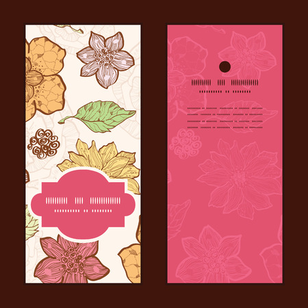 Vector warm fall lineart flowers vertical frame pattern invitation greeting cards set
