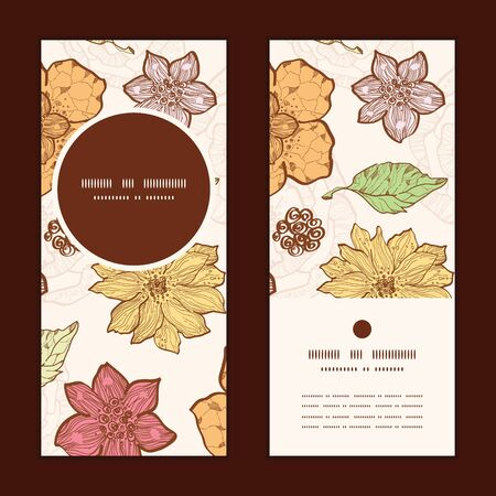 Vector warm fall lineart flowers vertical round frame pattern invitation greeting cards set