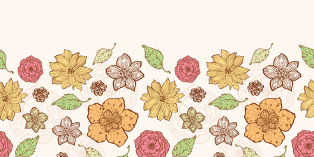 textiles: Vector warm fall lineart flowers horizontal border seamless pattern background