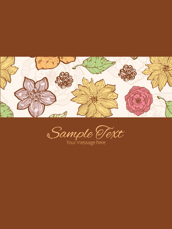 Vector warm fall lineart flowers stripe frame vertical card invitation template