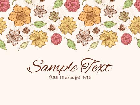 Vector warm fall lineart flowers horizontal border greeting card invitation template