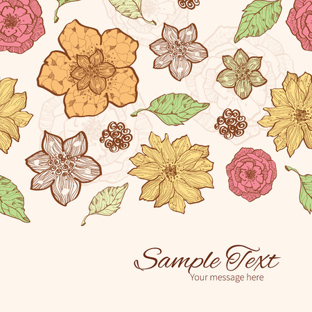 flowers horizontal: Vector warm fall lineart flowers horizontal border card template Illustration
