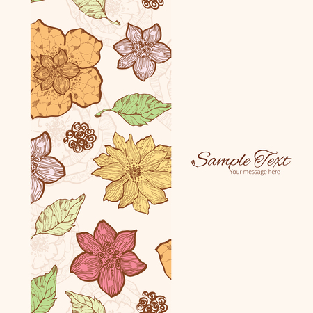 Vector Warm Fall Lineart Flowers Vertical Frame Seamless Pattern Background