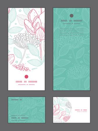 rsvp: Vector modern line art florals vertical frame pattern invitation greeting, RSVP and thank you cards set