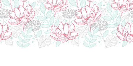 horizontal: Vector modern line art florals horizontal border seamless pattern background