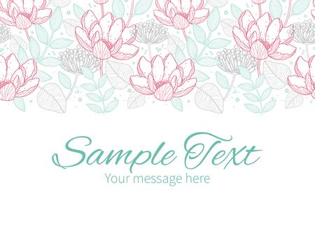 Vector modern line art florals horizontal border greeting card invitation template Vector