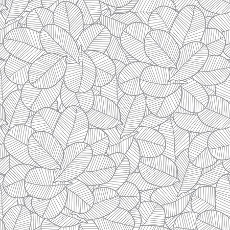 Vector line art grey leaves texture seamless