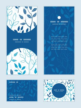 rsvp: Vector blue forest vertical frame pattern invitation greeting, RSVP and thank you cards set
