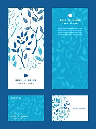 rsvp: Vector blue forest vertical frame pattern invitation greeting, RSVP and thank you cards set