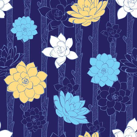 Vector blossoming branches stripes seamless pattern Vector