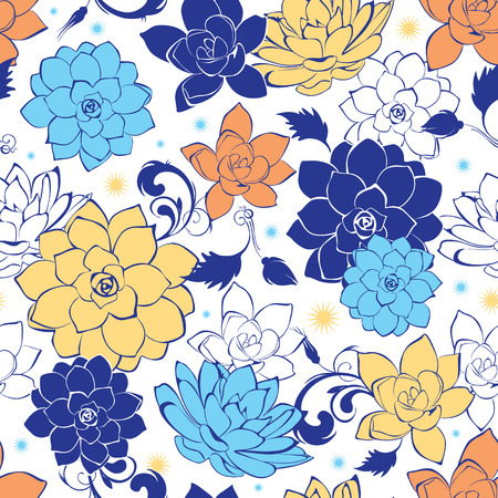 the womanly: Vector blue gold flowers seamless pattern Illustration