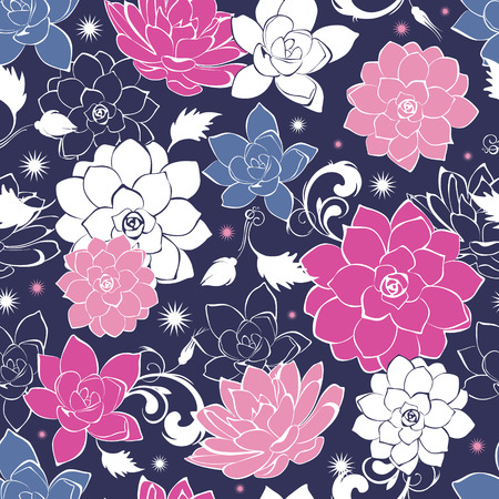 Dark grey pink floaral seamless pattern Иллюстрация