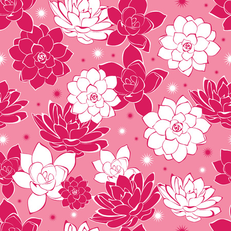 Vector pink ink flowers seamless pattern