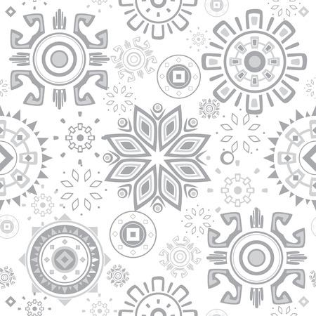 grey pattern: Vector grey folk circles seamless pattern