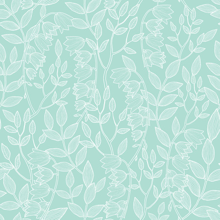 Vector mint green floral texture seamless pattern Ilustrace