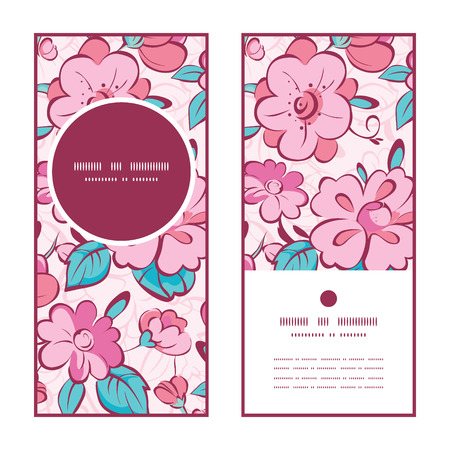 japanese garden: Vector pink blue kimono flowers vertical round frame pattern invitation greeting cards set Illustration